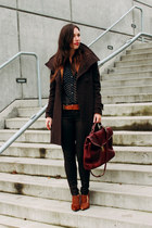 dark brown wool wilfred coat - dark brown coated skinnies James Jeans jeans