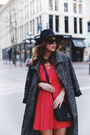 Red-fit-and-flare-express-dress-charcoal-gray-trench-coat-aritzia-coat