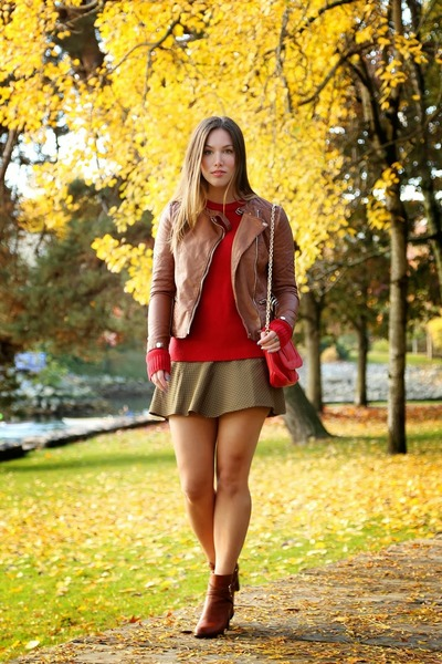 brown motorcycle Forever21 jacket - red knit Pollen Sweater sweater