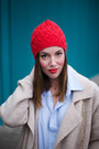 Beige-sweater-free-people-coat-sky-blue-ripped-gap-jeans-red-beanie-h-m-hat
