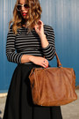 Black-striped-h-m-shirt-brown-leather-bag-roots-bag