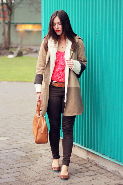 tan color-block Club Monaco coat - dark brown James Jeans jeans
