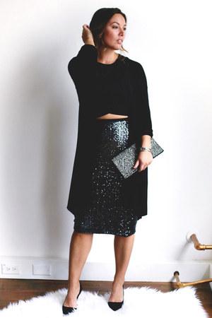 black sequin Express skirt - black crop top Express top