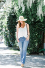 Sky-blue-flare-james-jeans-jeans-white-camisole-gentle-fawn-top