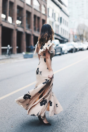 neutral floral print Revolve dress