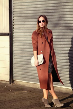 brick red wool Obakki coat - olive green silk Club Monaco dress