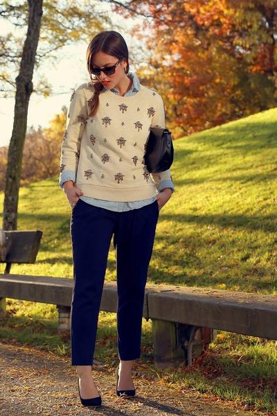 eggshell embellished JCrew sweater - navy trousers Aritzia pants
