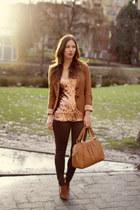 pink sequins Joe Fresh top - dark brown coated skinny James Jeans jeans