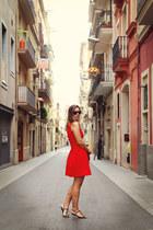 red feminine H&M dress - light brown cross body Rebecca Minkoff bag
