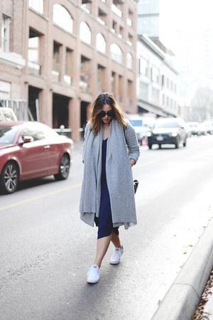 navy midi Aritzia dress - silver minimalist Aritzia coat