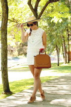 white lace Urban Outfitters dress - camel straw hat Urban Outfitters hat