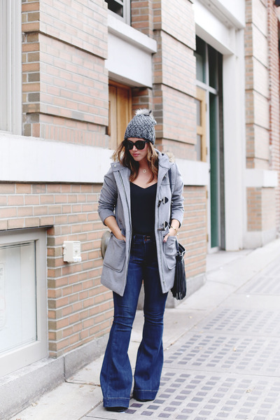 navy flare Express jeans - heather gray fur trimmed Express coat