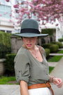 Teal-silk-club-monaco-dress-teal-fedora-brixton-hat