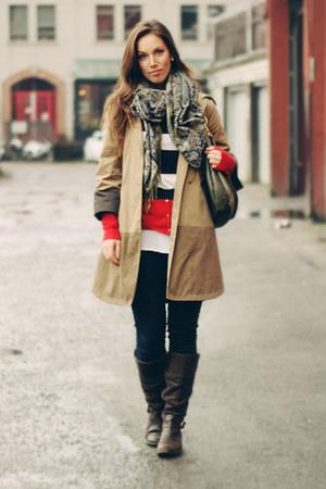 dark brown timbaland boots - dark khaki Club Monaco coat