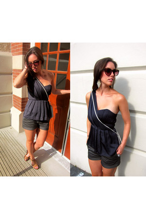 silver thrifted bag - dark gray Artizia shorts - navy silk bustier Club Monaco t