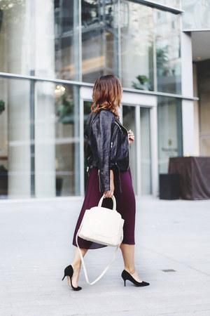maroon silk Aritzia dress - black leather jacket Aritzia jacket