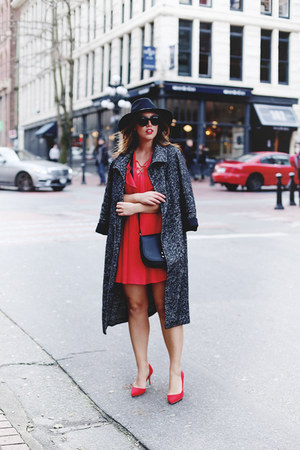charcoal gray trench coat Aritzia coat - red fit and flare Express dress