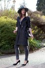 Charcoal-gray-menswear-h-m-coat-teal-fedora-brixton-hat