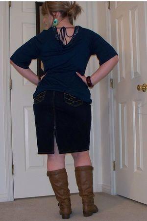 blue Ana shirt - blue Old Navy skirt - brown boots