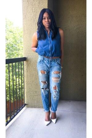 blue Target jeans - blue thrifted vintage vest - white Zara heels