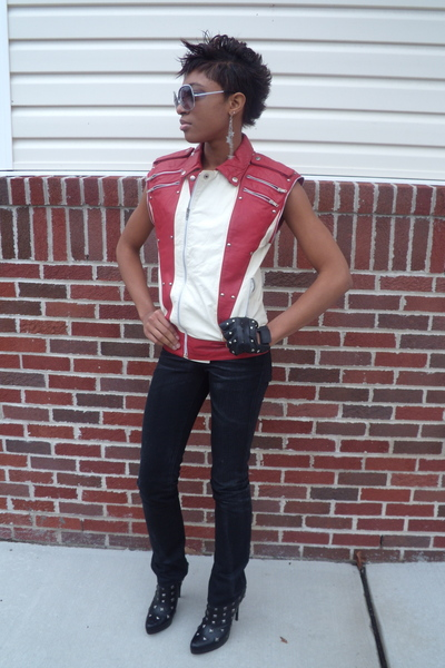 red thrifted vest - black studded Victorias Secret boots