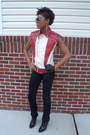 Red-thrifted-vest-black-forever-21-jeans-black-victorias-secret-boots-blac