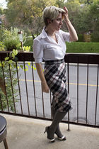 white TeenFlo shirt - black skirt - black Alfred Sung for Zellers shoes - gold n