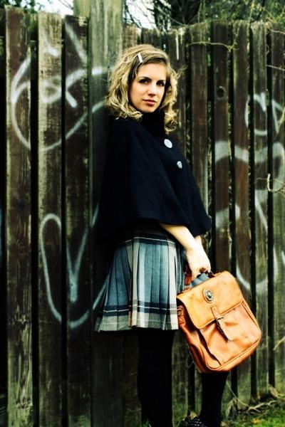 black Forever 21 coat - gray vintage skirt - black zellers tights - brown vintag