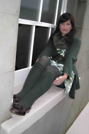 green benneton cardigan - green H&M dress - green scarf - green H&M socks - brow