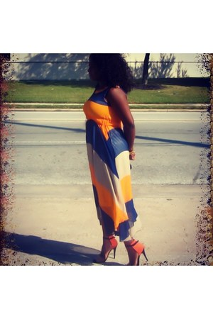 black Zara sandals - light orange Ebay dress