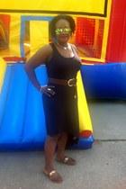 black Michael Kors dress - brown Michael Kors belt - green Ray Ban accessories