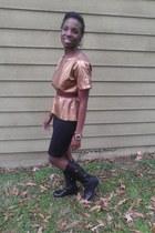 black sam edelman boots - bronze vintage shirt - black Forever 21 skirt