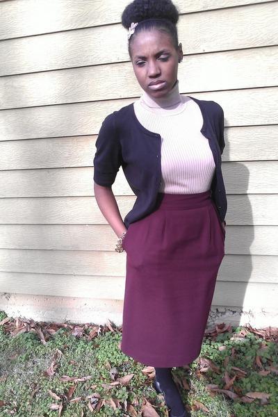 beige vintage shirt - maroon vintage skirt - black The Limited cardigan