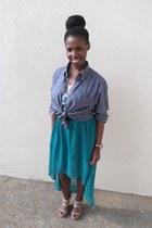 turquoise blue hi low skirt Forever 21 skirt - blue denim shirt Old Navy shirt