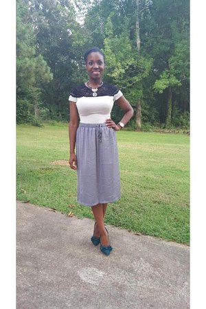 periwinkle Gap skirt - heather gray H&M shirt - teal Steve Madden heels