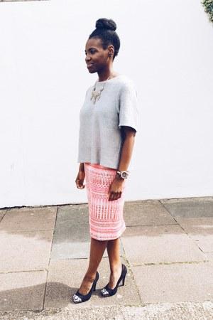 silver metallic H&M shirt - bubble gum tweed S for Shoko skirt