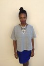 Silver-h-m-shirt-blue-forever-21-skirt-black-topshop-necklace