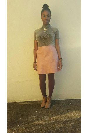 pink Zara skirt - camel ankle boots gianni bini boots