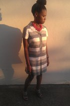 silver vintage dress - red Anthropologie necklace - silver trouve wedges