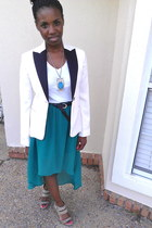 white Express blazer - silver trouve wedges - teal Forever 21 skirt