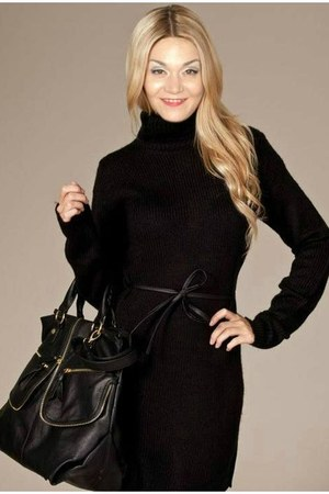 black H&M dress - black lether bag - black lether belt
