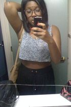 gray Urban Outfitters glasses - silver American Apparel shirt - black H&M pants
