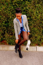 tweed jacket jacket - shirt - polkadot tights tights - shorts