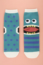 0011 Neh Neh Neh Boo Boo, Monster Dotted & Stripe Ankle Socks
