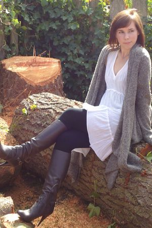 Aldo boots - Anthropologie dress - Jacob leggings - kensie sweater