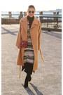 Tan-coat-fewmoda-coat-sweater-maroon-salvatore-ferragamo-bag