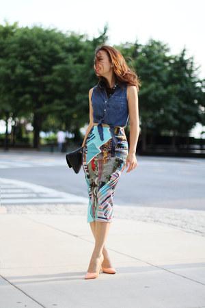 fewmoda skirt - Bottega bag - Forever 21 top