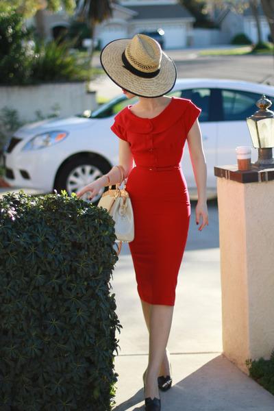 ruby red modcloth dress - cream LV bag