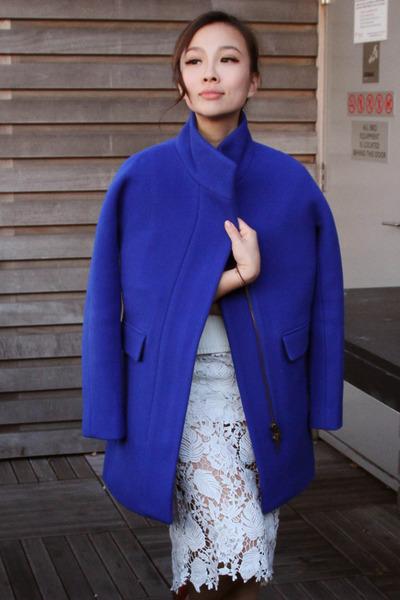 Jcrew coat - pixiemarket sweater - lace pixiemarket skirt