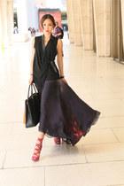 Badgley Mischka skirt - Prada bag - amethyst Jimmy Choo heels